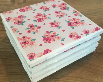 Pink Floral Coasters