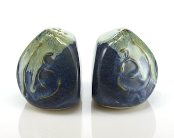 Ceramic three-sided salt and pepper shakers / condiment set with blue and green glazes, handmade by Jason Hooper Pottery