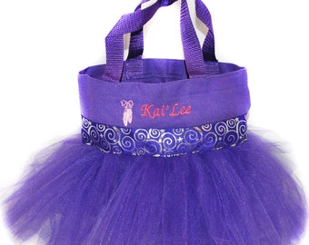 Ballet Bag, Dance Bag, Purple Whimsical With FREE Monogram Name Embroidered on the Bag, Personalized Girl, Fairy Bag, Ballet Bag
