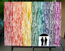 Gay Wedding Gift, Gay Men Art, Melted Crayon Art, Couple Gift For Boyfriend, Rainbow Painting, Silhouette Rain Painting, Wax Painting 22x28