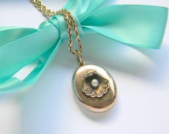 Antique Victorian 14k Solid Yellow Gold Locket Pendant Necklace, Seashell Locket, Diamond Locket, Pearl Locket, Enamel Locket,