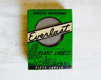 Vintage Everlast Aluminum Plant Labels Full Box of Fifty