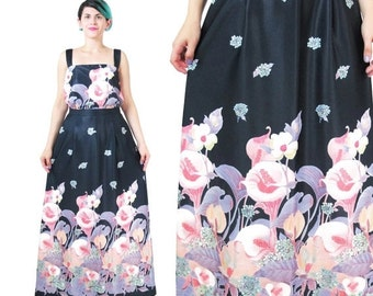 25% off SALE 25 Percent OFF SALE 1970s Two Piece Dress Matching High Waisted Maxi Skit Floral Tank Top Navy Blue Pink Watercolor Floral Even