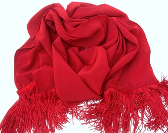 Brick Red Scarf with Long Fringe Fall Colors Accessories for Women Teens Her Unique Handmade Scarves Shawl Scarf Womens Scarves