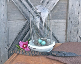 Vintage Glass Cloche Dome and Distressed Wood Base French Country Decor Beach Cottage Rustic Home Decor