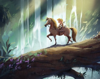 Young Prince Charming Waterfall | Fine Art Print | Boy on Horse, Fallen Tree by Waterfall, Children's or Nursery Room | Flimflammery
