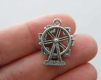 4 Ferris wheel pendants antique silver tone P457