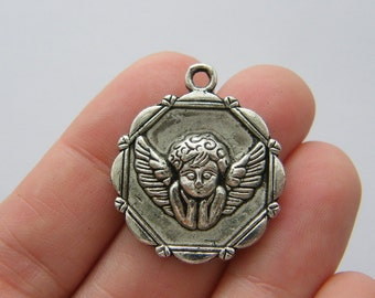 4 Angel charms antique silver tone AW120