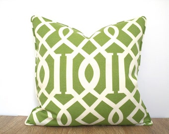 Green outdoor pillow case 18x18, geometric cushion cover, imperial trellis pillow case , pistachio green cushion for entryway bench