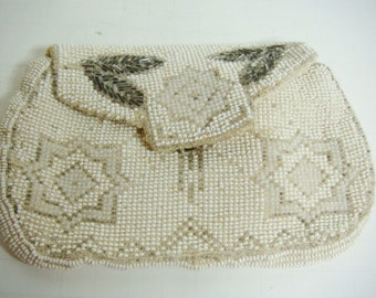 Antique Beaded Purse -  Feather and Star Design - White - Creme - Grey