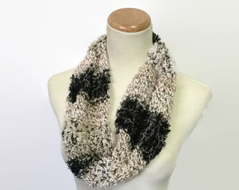 Black and Tan Cowl, Knit Cow, Knit Scarf, Circle Scarf, Gift For Her, Womens Scarf, Hand Knit Scarf