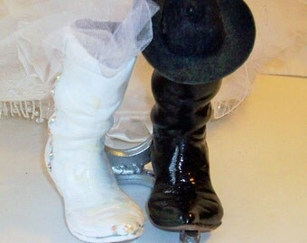 Cowboy Boot Wedding Cake Topper Horse Shoe Topper Black and White