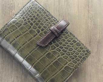 leather binder, moss green crocodile, refillable journal, planner binder, leatherplanner, handstitched, oiled leather, green planner, diary