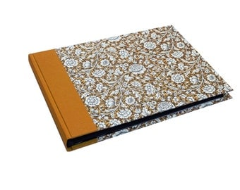 XL Photo Album Renaissance Flowers, Gold Glow Mustard Yellow, Wedding Album with black or white pages