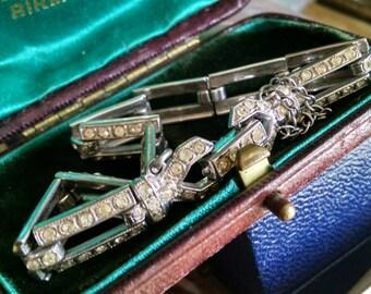 Sterling silver and paste rhinestone Art Deco bracelet - vintage jewelry