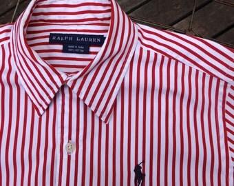 Ralph Lauren, pin striped shirt, women's size 2