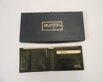 Men's Buxton Bi Fold Genuine Leather/Black Color/NOS in Its Original Box