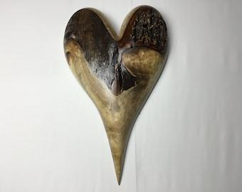 Myrtle wood heart retirement present wooden heart Anniversary gift by Gary Burns the treewiz handmade woodworking