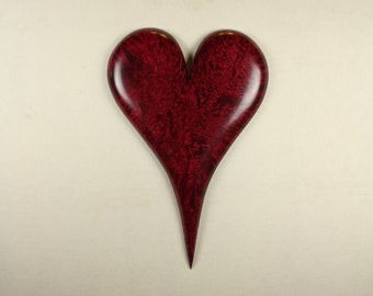 Special red romantic Anniversary gift Heart wood carving present