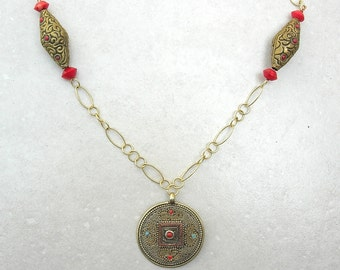 Tibetan Brass Pendant & Beads, Reversible Pendant, Gold Chain, Real Coral Beads, by SandraDesigns