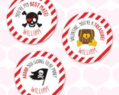 Valentine's Day Stickers - Pirates - Sheet of 12 or 24