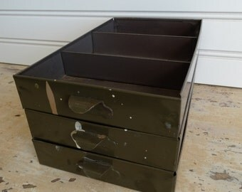 Set of Three Vintage Industrial Metal Filing Drawers with Compartments . File Drawers . Pull Latches . Army Olive Green