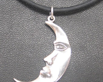 """Vintage Sterling Silver  Moon Face Charm 1.25"""""""