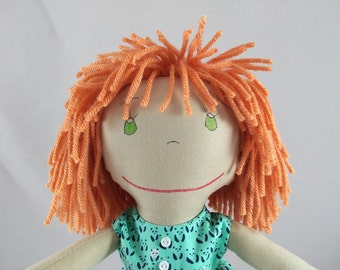 READY TO SHIP Rag doll, light skin tone, mop of apricot hair, Cloth Doll, Plush Toy, Soft Doll, Fabric Doll, Stuffed Doll