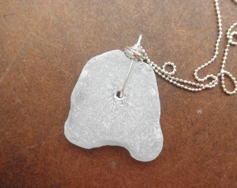 Large Washington State Sea Glass Necklace Frosted White