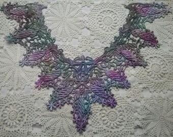 Purple Lace Costume Dress Making Collar Hand Dyed Venise Applique Embellishment