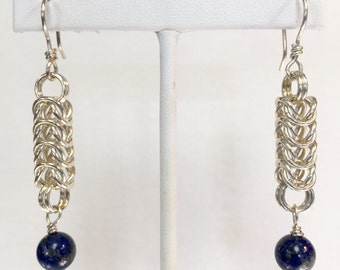 Blue Lapis Earrings in Chainmaille Design
