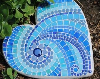 Ionian Sea Mosaic Heart Shaped Stepping Stone MOO5097