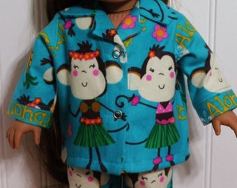 ALOHA MONKEY Flannel Pajamas fit 18inch soft-bodied dolls - Proudly Made in America
