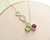 Mom Jewelry, Sterling Silver Infinity with Crystal Birthstones, Mothers Necklace, Grandma Jewelry, Family Birthstone Necklace, Mom Necklace
