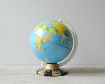 "Vintage Zodiac World Globe, 9"" Ohio Art Litho Globe"