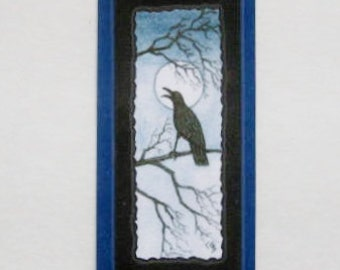 Bookmark Raven-  Hand made from artist Original Watercolor Print - Bird - Laminated