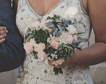 Bridal bouquet, succulents with peach floral accents