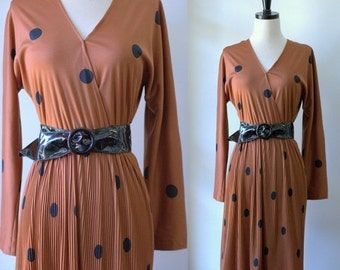 Vintage 1970s Dress 70s Clothing Womens 70s Disco Clothing Polka Dot Dress Cocktail Dress Slinky Disco Dress  1970s Fashion Boho Fashion SM