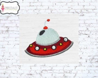 Space ship machine embroidery design. Fun space embroidery. Great alien embroidery for little astronauts.