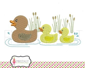 Duck machine embroidery design. Duck embroidery, mom and babies in 2 sizes, filled stitch. Fun pond embroidery.