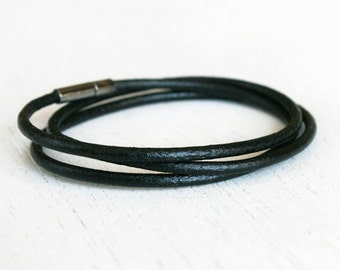 Plain Leather Bracelet - Double Wrap Leather Bracelet  - Triple Wrap Leather Bracelet