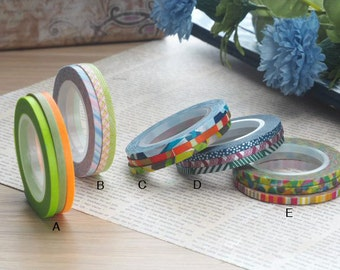 mt 2016 New - Japanese Washi Masking Tapes / 3mm slim Twist & Stripes- Set of 3 at your choice
