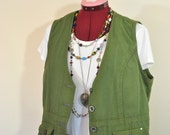 "Green XL Denim VEST - Dark Moss Green Dyed Upcycled Relativity Denim Vest - Adult Womens Size Extra Large (42"" chest)"