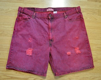 """Red Mens Sz 46 Levi's Denim SHORTS - Wine Red Dyed Denim Vintage Levi's Jean Shorts - Adult Mens Size 46"""" Waist"""