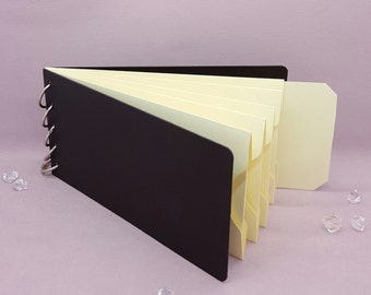 """Ivory, Pocket Tag, Chipboard Album, Size 8-1/4"""" x 4-1/4"""", Scrapbooking, Memory Keeping, Photo Album, Black Covers"""