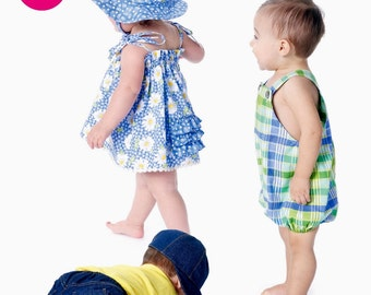 Boy & Girl Romper Pattern, Toddlers Sunsuit Pattern, Baby Rompers Pattern, Diaper Cover, Sz 13 to 29 lbs, McCalls Sewing Pattern 6309