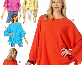 Misses' Tunic Tops Pattern, Pullover Tunic Tops Pattern, Loose Fitting Tops Pattern, Butterick Pattern 6171