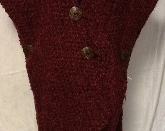 Wrapped in Cranberry Crocheted Coat
