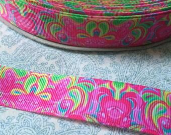 "7/8"" Ribbon Neon Bright Pink Yellow orange Swirls Grosgrain Ribbon"