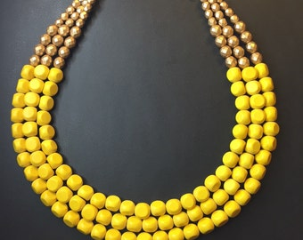 YELLOW and Gold multistrand beaded necklace